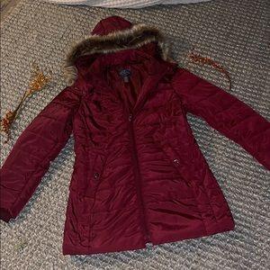 Maroon puffer jacket